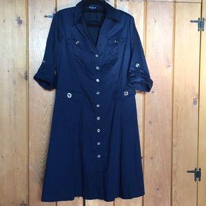 JONES NY Navy Shirt Dress